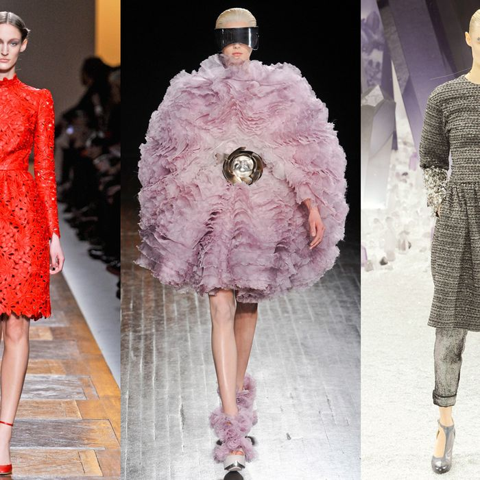 From left: new looks from Valentino, McQueen, and Chanel.