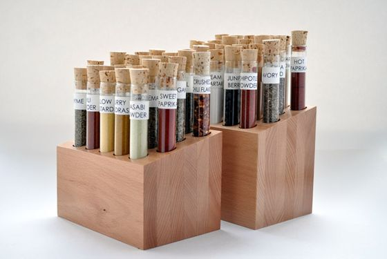 "This block set from SavorX arranges 22 starter spices and 22 finishing spices in corked test tubes into a neat collection that looks great on any countertop. As the company continues to grow, it plans on selling additional blocks that will physically connect to their current offerings, for those who want to expand their sets. <a href=""http://shop.savorx.com/product-p/spiceologist-block-full-set.htm"">Spiceologist Block Set</a>, $239.95"