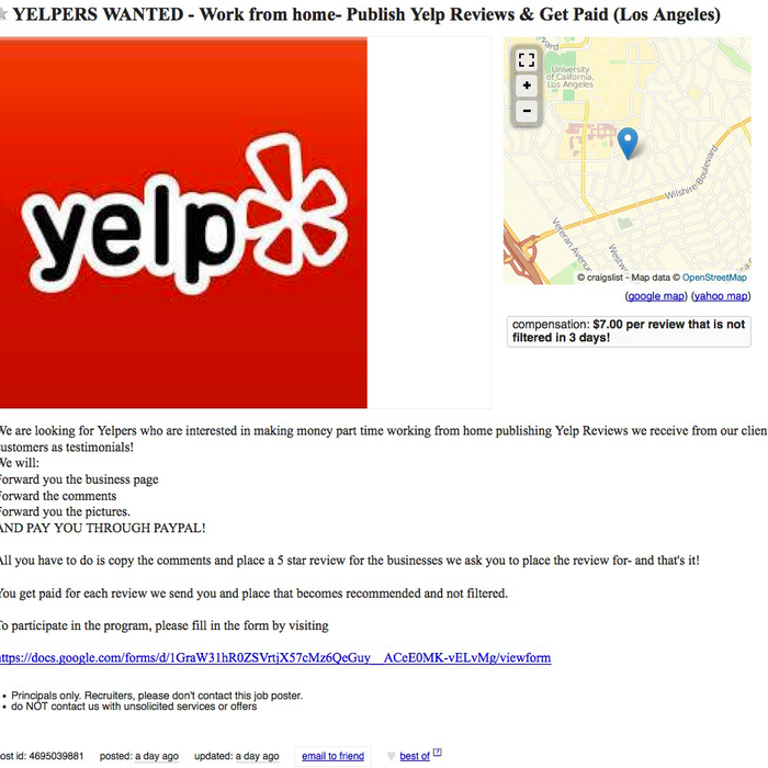 This Craigslist Ad Is Looking for People Who Will Post Fake Yelp