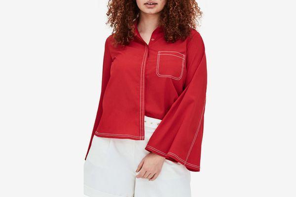 Elvi the Luli Pleated Bell Sleeve Shirt