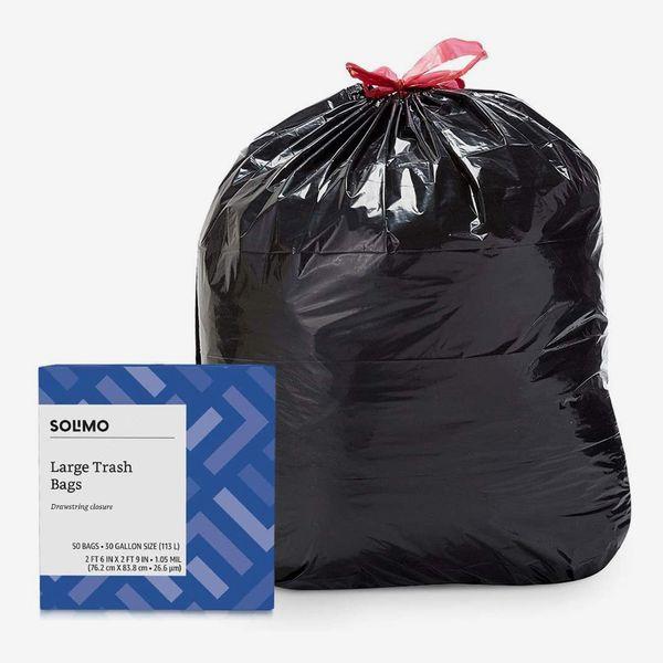 Solimo Multipurpose Drawstring Trash Bags, 30 Gallon, 50 Count