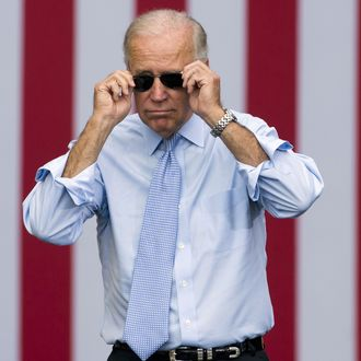 US Vice President Joe Biden takes his sunglasses off as he arrives for a campaign event with President Barack Obama at Strawbery Banke Field in Portsmouth, New Hampshire, September 7, 2012. US Vice President Joe Biden takes his sunglasses off as he arrives for a campaign event with President Barack Obama at Strawbery Banke Field in Portsmouth, New Hampshire, September 7, 2012. AFP PHOTO / Saul LOEB (Photo credit should read SAUL LOEB/AFP/GettyImages)