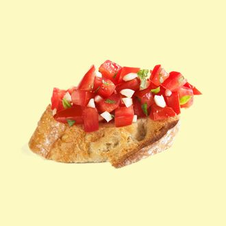 Crostini with Garlic and Tomato on White
