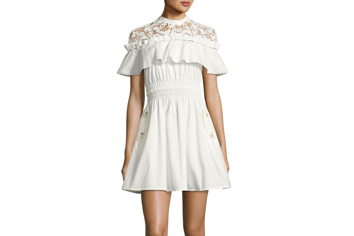 Self-Portrait Hudson Lace-Yoke Ruffle Mini Dress, White