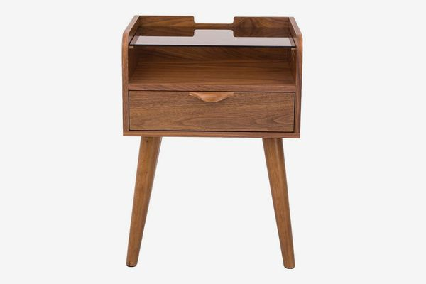 Amazon Brand - Rivet 1-Drawer Side Table with Glass Shelf