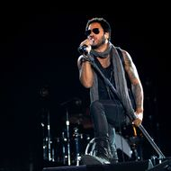 US musician Lenny Kravitz performs on stage during the Ibiza123 Festival in Sant Antoni de Portmany on Ibiza Island on July 3, 2012.