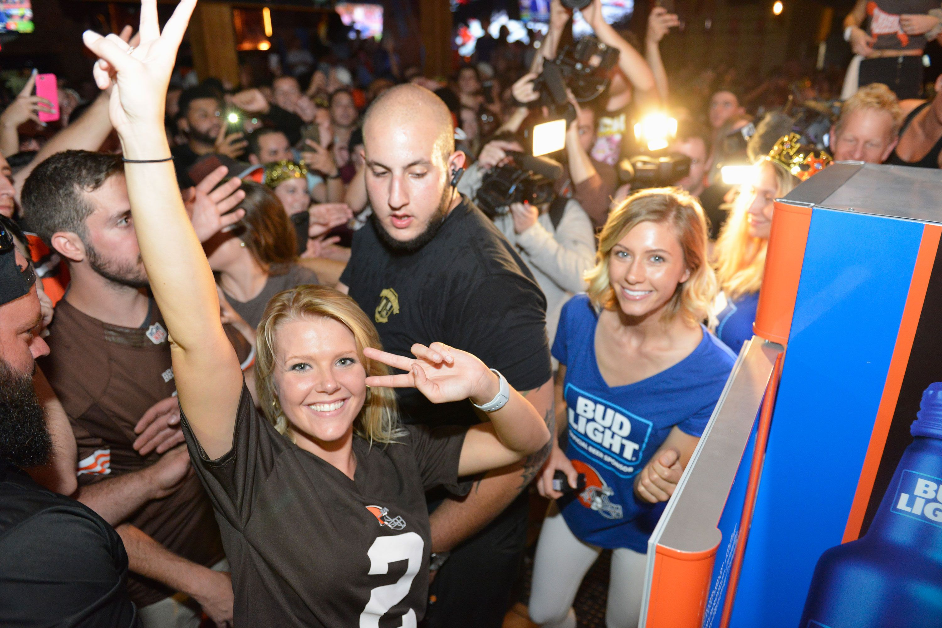 A view of atmosphere as the Bud Light Cleveland Browns Victory Fridges unlock across the city as the Browns earn first win since 2016