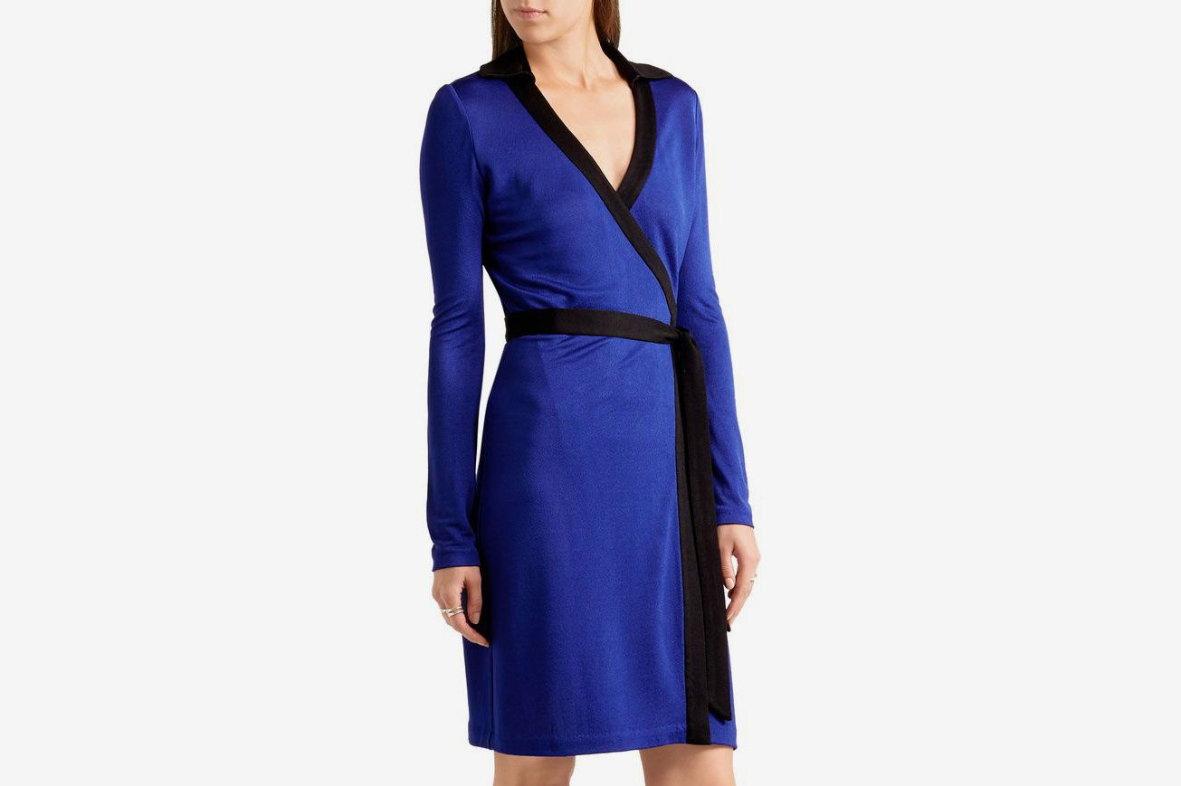 Diane Von Furstenberg Jeannae two-tone stretch-knit wrap dress