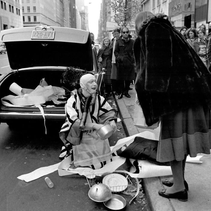 "Jimmy DeSana, Untitled (""Stephen Varble performing Gutter Art with onlooker""), 1975, silver gelatin print (2018)."