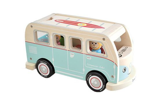 Indigo Jamm Colins Camper Van Playset A Vintage Inspired All Sustainable Wood That Comes With Four Peg People And Pet Dog Ready To Hit