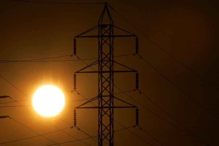Power towers are seen as the sun sets July 24, 2006 in San Rafael, California. The California Independent System Operator declared a stage two power alert for all of California today after available power had fallen to below five percent as high temperatures scorched the state for eight days straight prompting Californians to use a record 50,270 megawatts of power. Temperatures are expected to cool slightly over the next few days but strain on the power grid will continue. A Stage 2 alert means that remaining available power has fallen to below five percent and some businesses will begin to voluntarily shut down some of their operations in exchange for discounted rates. Californians hope to avoid a Stage 3 alert, which would involve rolling blackouts, as calls go out to cut back on power usage until the heat subsides this evening.