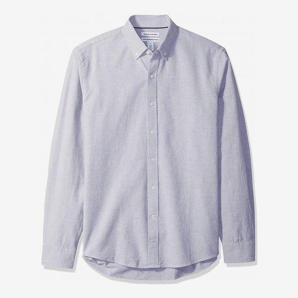 Amazon Essentials Men's Slim-fit Long-Sleeve Solid Oxford Shirt in Aqua