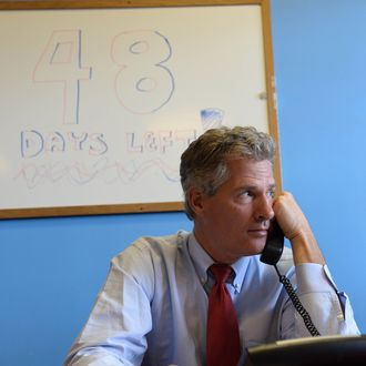 Scott Brown works the phone banks at the New Hampshire GOP Salem headquarters September 17, 2014 in Salem, New Hampshire. Brown is the Republican U.S. Senate nominee who will take on incumbent Democrat Jeanne Shaheen in the general election in November.