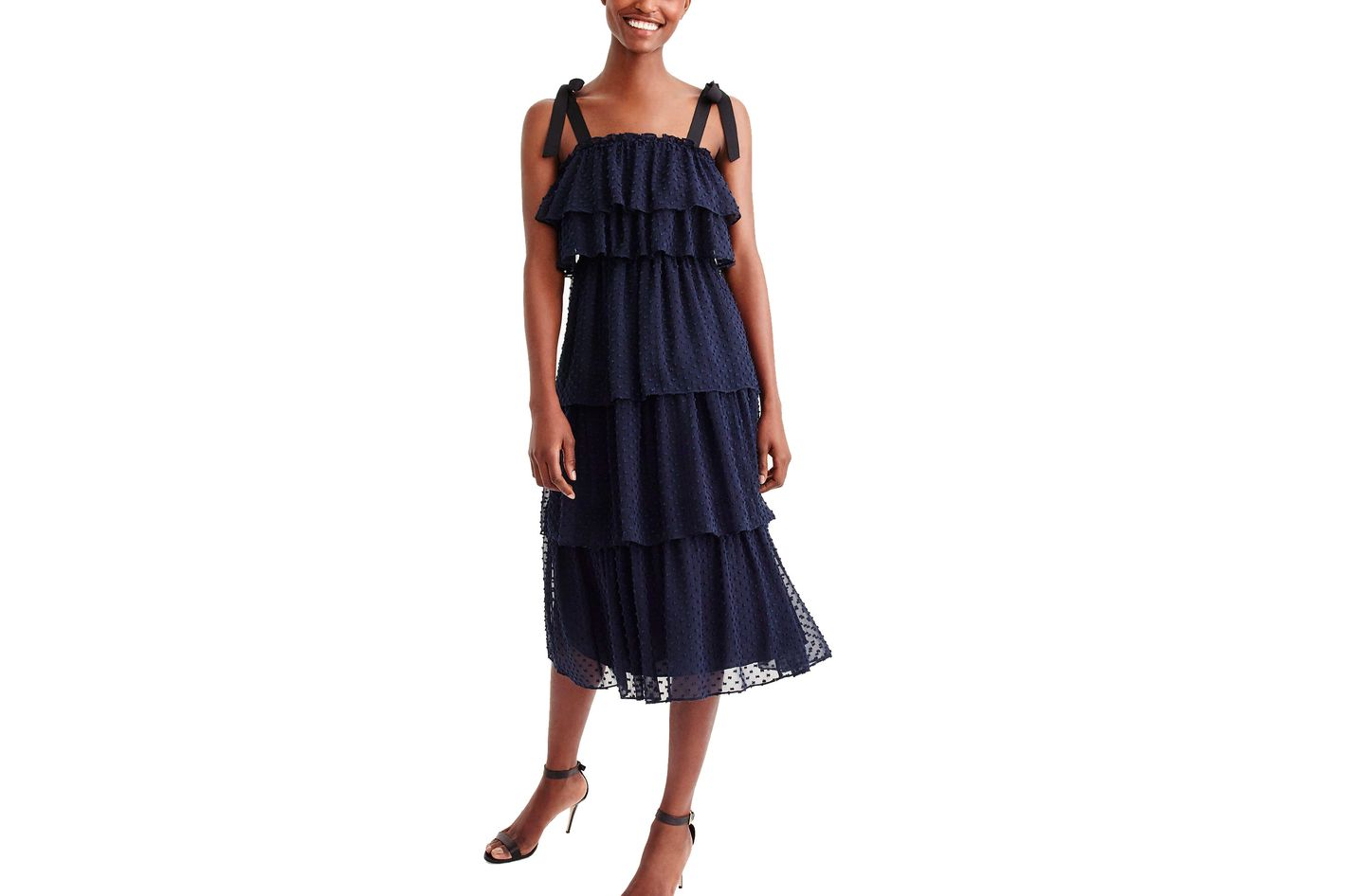 J. Crew Tiered Tie-Shoulder Dress