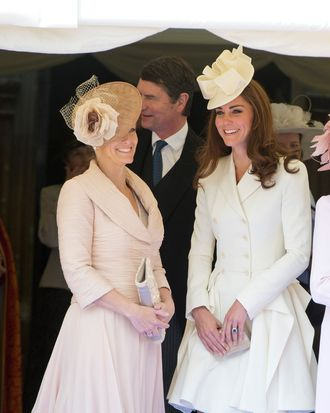 Sophie Rhys-Jones, Countess of Wessex and Catherine, Duchess of Cambridge watch the Order of the Garter procession at Windsor Castle on June 18, 2011 in Windsor, England.