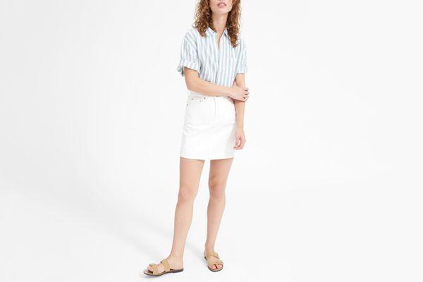 Women's Denim Skirt in Bone
