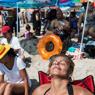 New Yorkers Flock To The Beach On Labor Day Ocean Coney Island
