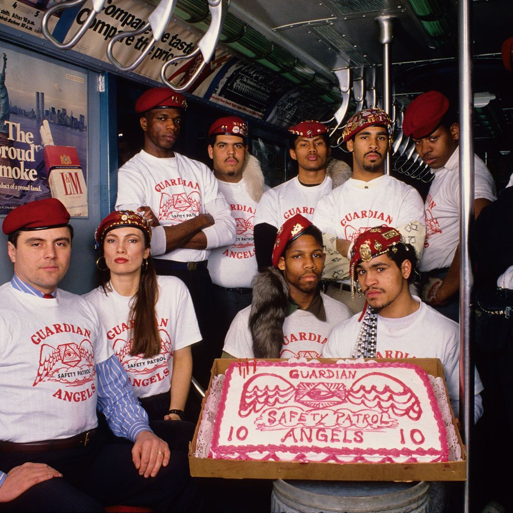 Curtis Sliwa (L) and the Guardian Angels post for a portrait as they celebrate their 10th anniversary January 18, 1989 in New York City.