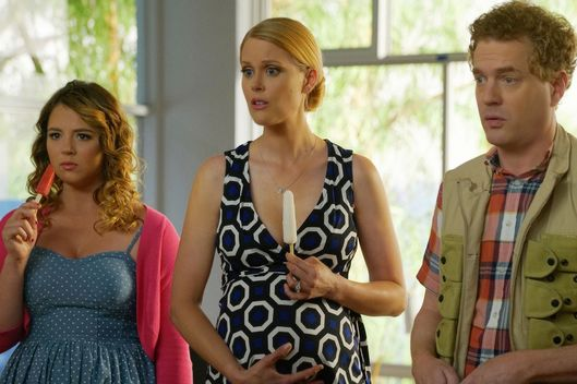 "YOU'RE THE WORST -- ""Bad News: Dude's Dead"" -- Episode 303 (Airs Wednesday, September 14, 10:00 pm e/p Pictured: (l-r) Kether Donohue as Lindsay Jillian, Janet Varney as Becca Barbara. Todd Robert Anderson as Vernon Barbara. CR: Byron Cohen/FX"