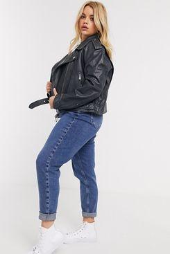 ASOS DESIGN Curve Washed Leather Biker Jacket in Black