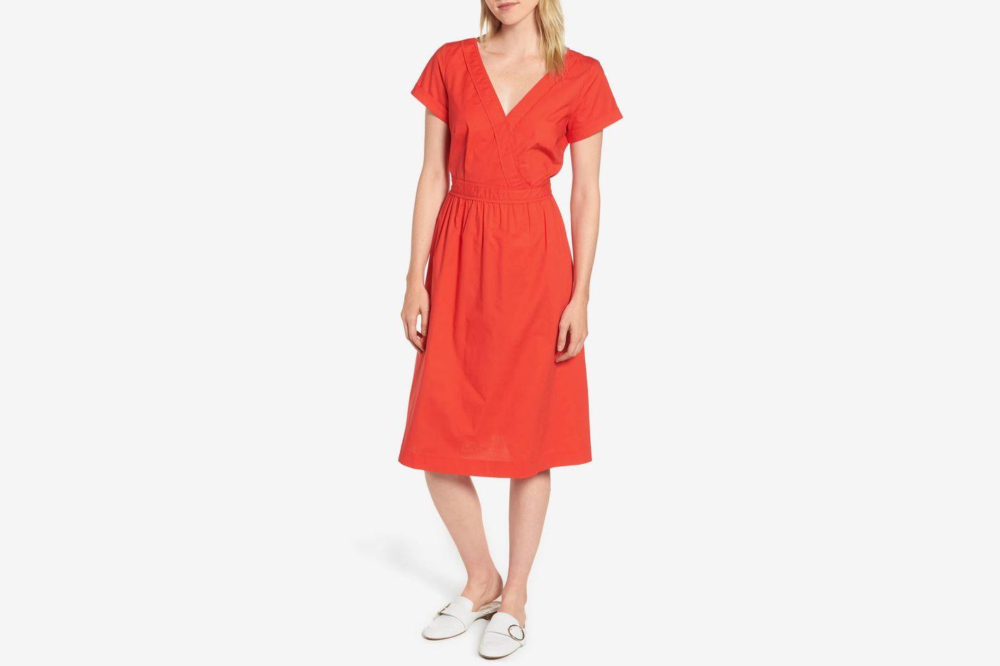 J.Crew Short-Sleeve V-Neck Midi Dress