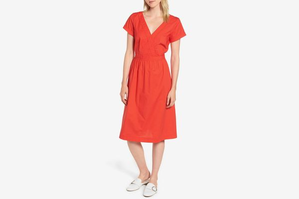 J.Crew Short-Sleeve V-Neck Midi Dress