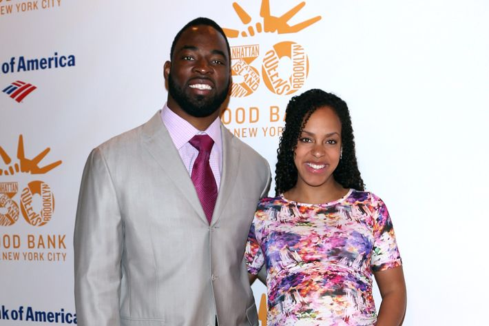 NFL Player Justin Tuck and Lauren Tuck arrive at the Food Bank For New York City's Can-Do Awards celebrating 30 years of service to NYC on April 30, 2013 in New York City.
