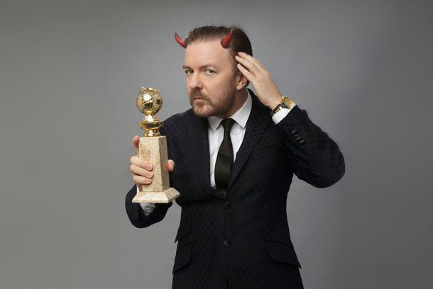 GOLDEN GLOBE AWARDS -- 69th Annual Golden Globe Awards -- Pictured: Host, Ricky Gervais -- Photo by: Todd Antony