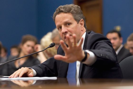 "Treasury Secretary Timothy Geithner testifies on Capitol Hill in Washington, Wednesday, June 22, 2011, before the House Small Business Committee hearing on ""The State of Small Business Access to Capital and Credit"".  (AP Photo/Evan Vucci)"