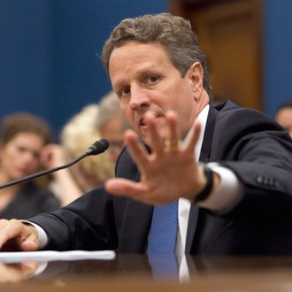 Treasury Secretary Timothy Geithner testifies on Capitol Hill in Washington, Wednesday, June 22, 2011, before the House Small Business Committee hearing on