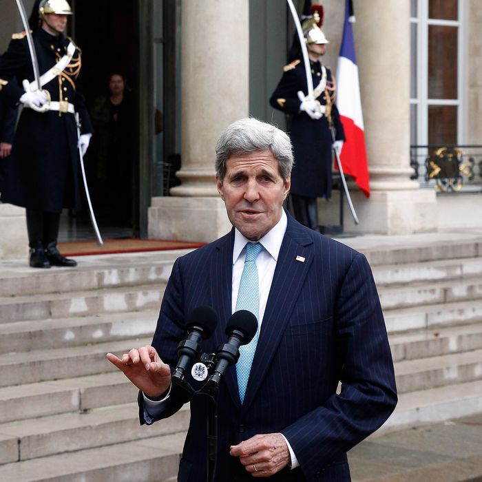 French President Francois Hollande Receives John Kerry, US Secretary Of State At Elysee Palace