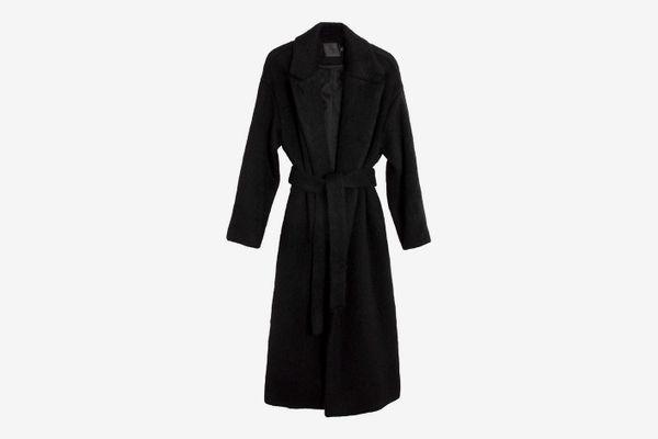 No.6 Black Mohair Ingrid Wrap Coat