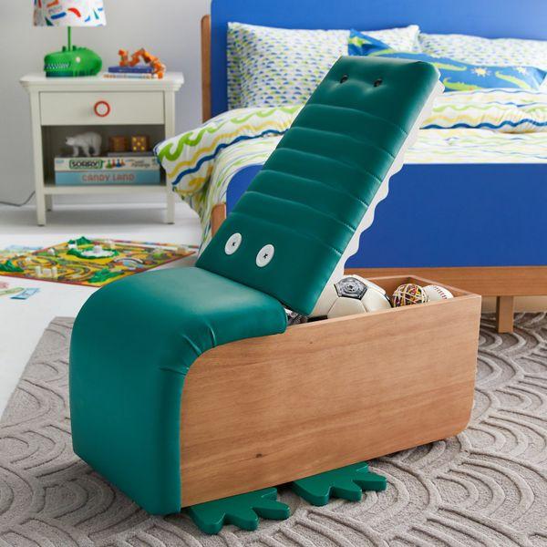 Drew Barrymore Flower Kids Alligator Upholstered Storage Ottoman