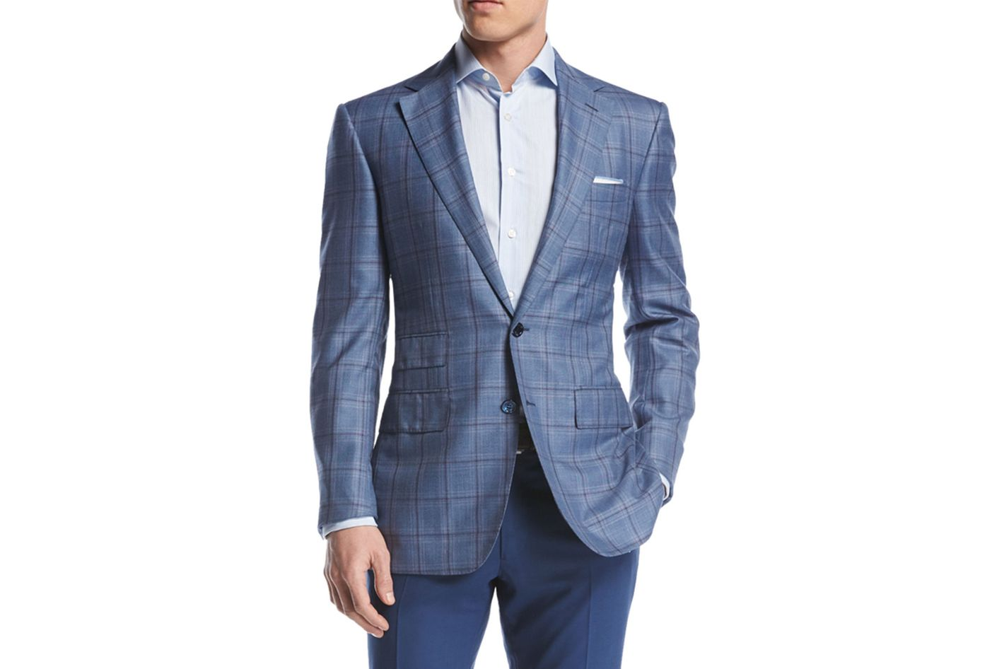 Stefano Ricci Blue Windowpane Two-Button Sport Coat