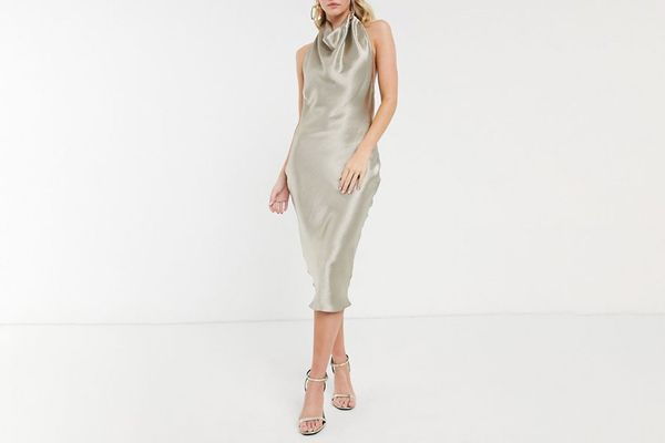 Asos Design Halter Cowl Front Satin Dress