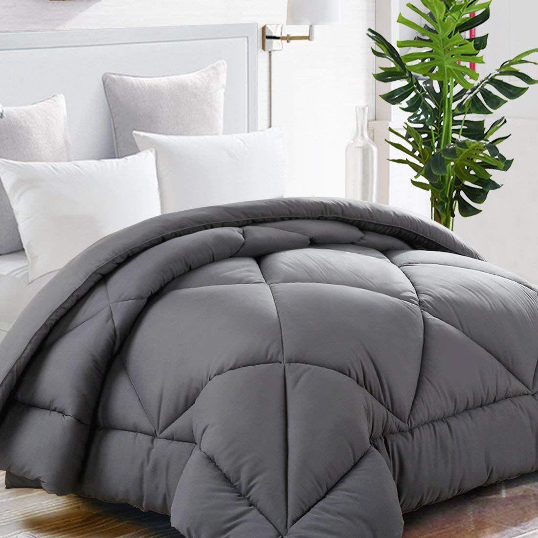 Mohap Comforter Twin Gray Ultra Warm Fluffy Down Duvet Lightweight Premium Brush