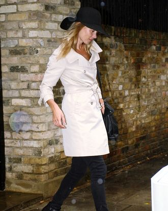 Kate Moss in London today.