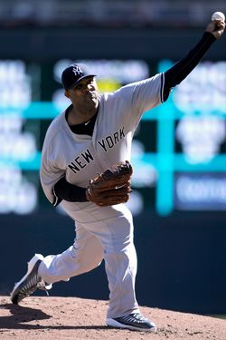 MINNEAPOLIS, MN - SEPTEMBER 26: CC Sabathia #52 of the New York Yankees delivers a pitch against the Minnesota Twins during the first inning of the game on September 26, 2012 at Target Field in Minneapolis, Minnesota. (Photo by Hannah Foslien/Getty Images)