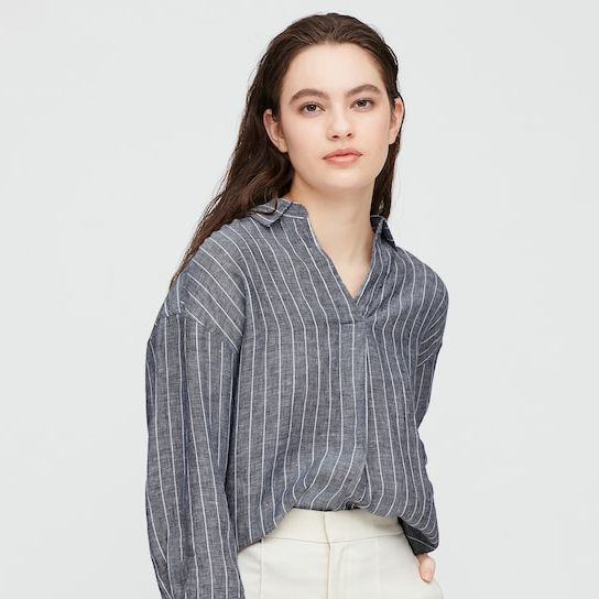 Women 100% Premium Linen Striped Skipper Shirt