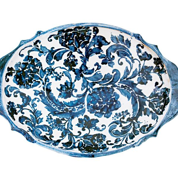 Amanda Moffat Indigo Collection footed oval server