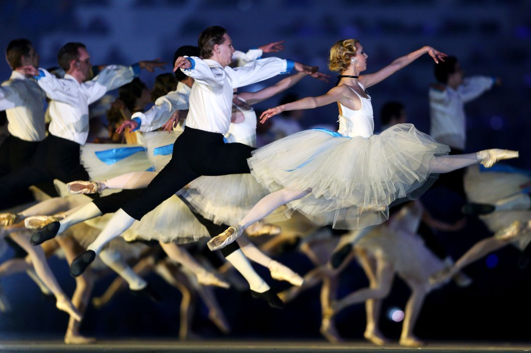 SOCHI, RUSSIA - FEBRUARY 23:  Dancers perform a celebration of Russian ballet during the 2014 Sochi Winter Olympics Closing Ceremony at Fisht Olympic Stadium on February 23, 2014 in Sochi, Russia.  (Photo by Paul Gilham/Getty Images)