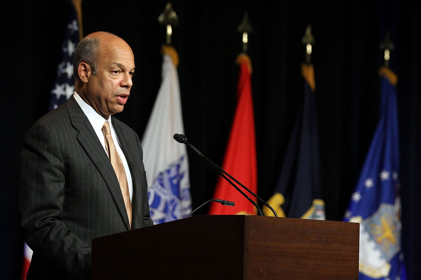 """U.S. Defense Department General Counsel Jeh Johnson delivers keynote remarks during an event to observe the """"Lesbian, Gay, Bisexual and Transgender Pride Month"""" June 26, 2012 at the Pentagon in Arlington, Virginia. It was the first-ever LGBT event held at the Pentagon."""