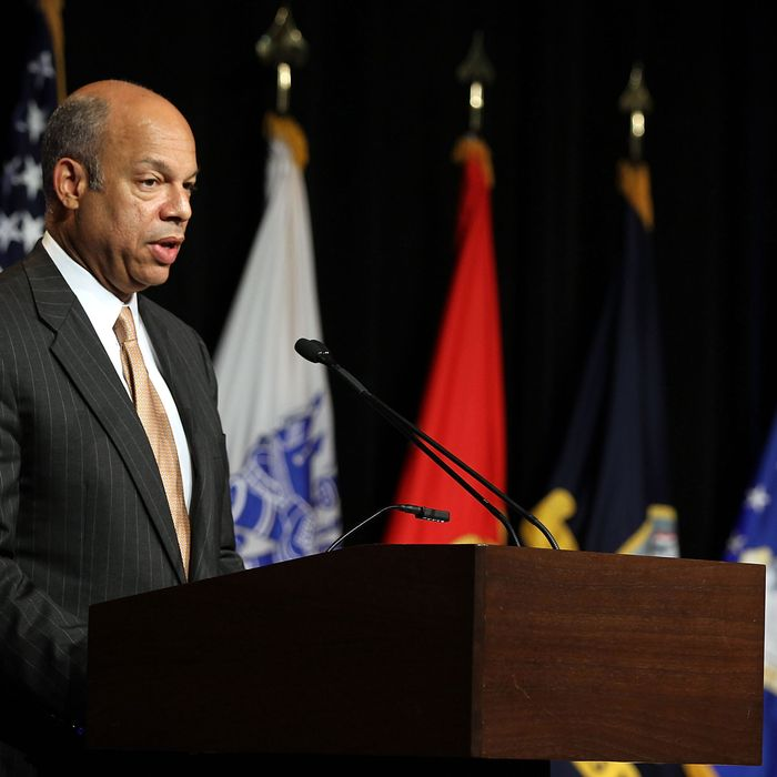 U.S. Defense Department General Counsel Jeh Johnson delivers keynote remarks during an event to observe the