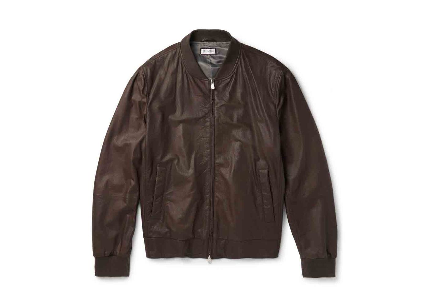 Brunello Cucinelli Leather Bomber Jacket