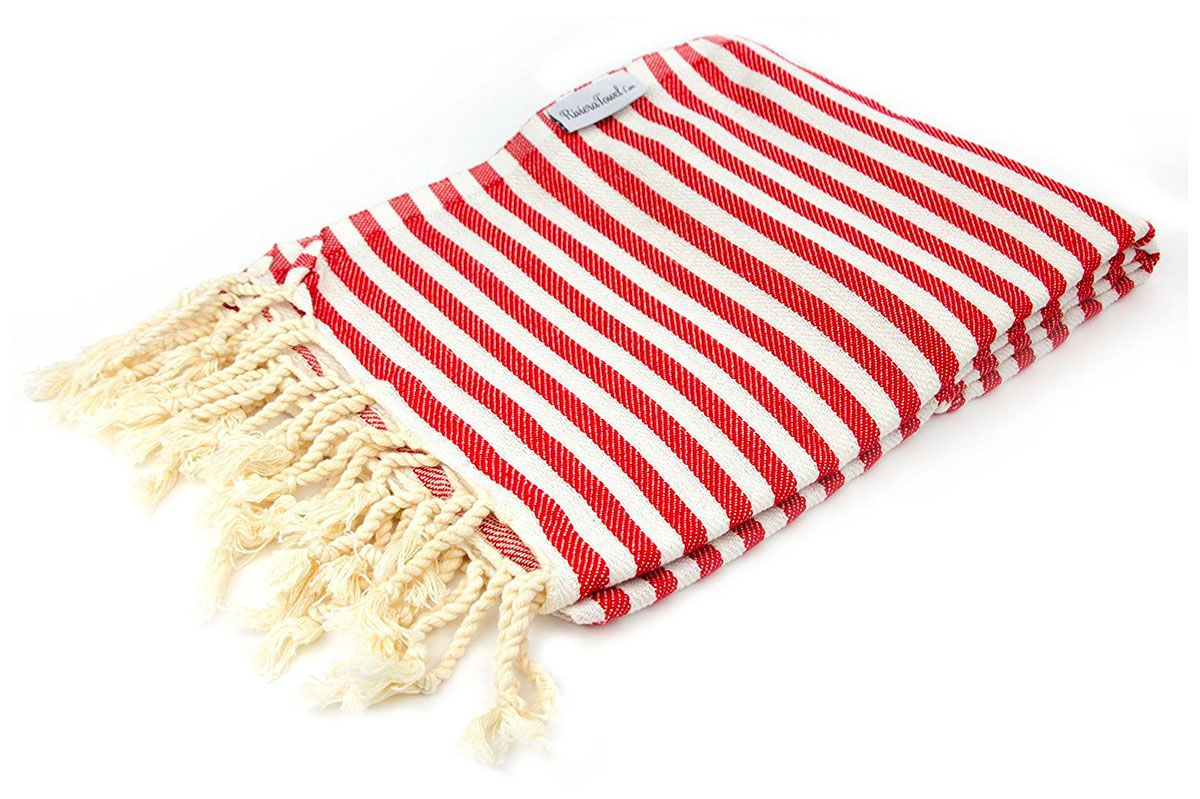 The Riviera Towel Company Red Striped Turkish Towel