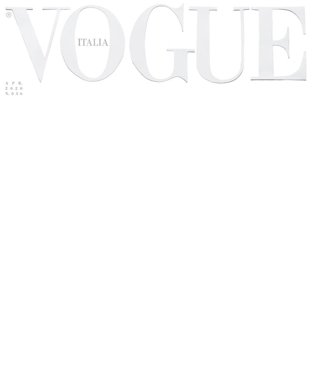 Vogue Italia' Prints Blank White Cover for April 2020 Issue