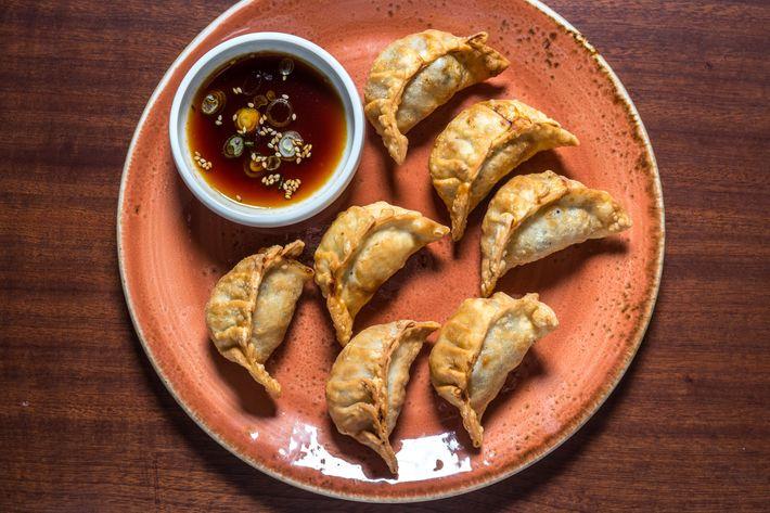 Fried gogi mandu, or pork-beef-and-chive dumplings.