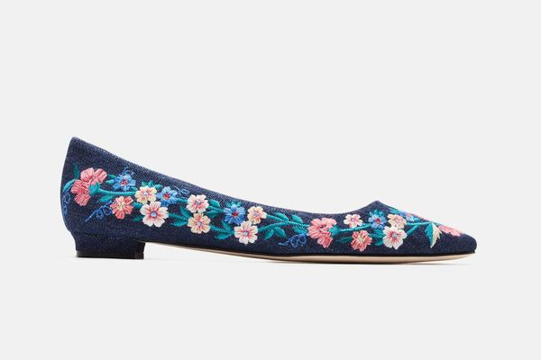 Manolo Blahnik Titto Embroidered Flat