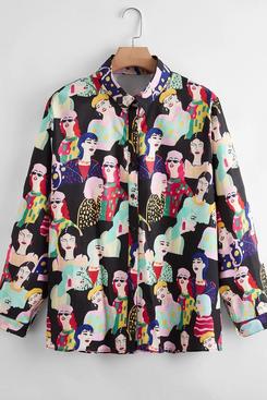 Shein Plus Allover Figure Print Blouse