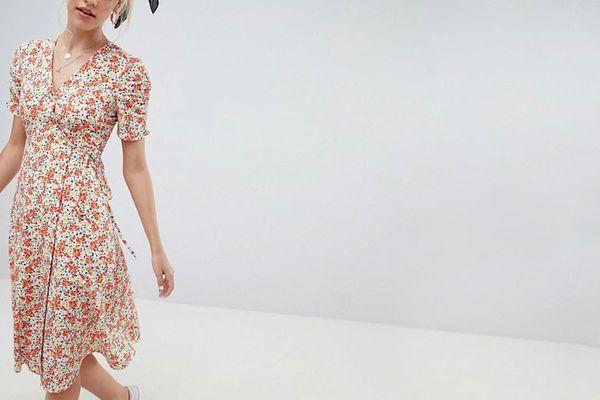 Reclaimed Vintage inspired midi dress in floral print
